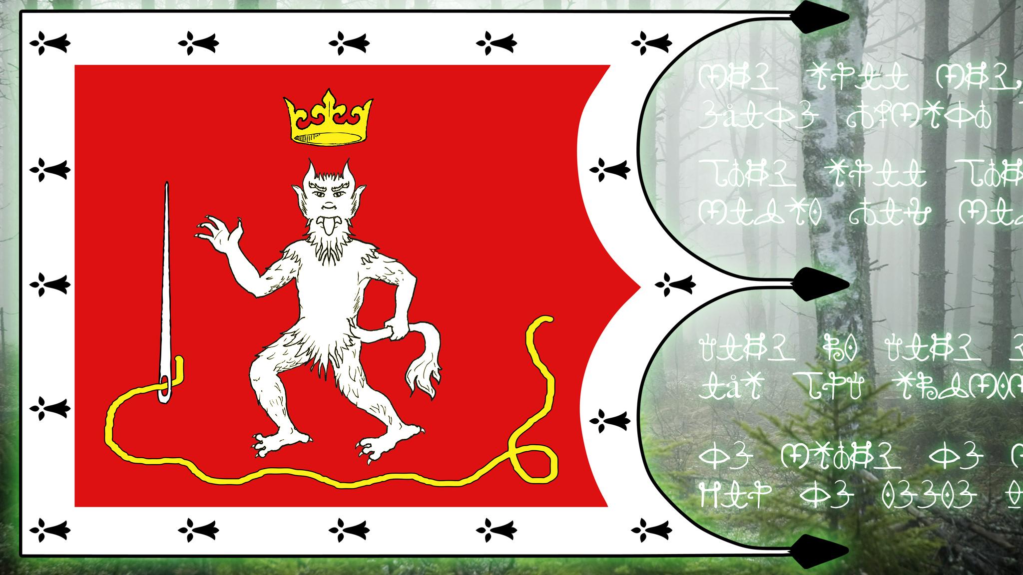 En flagga för Lorenzburgs Trollskog
