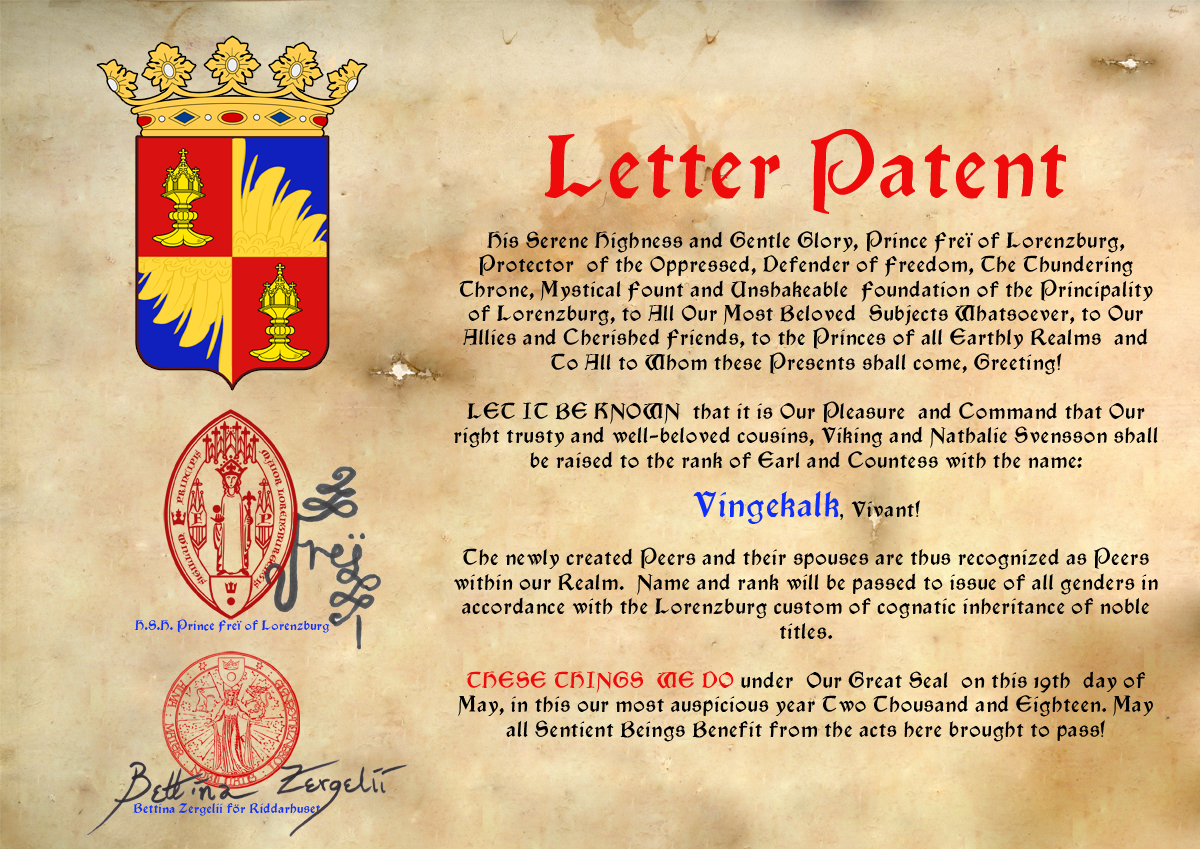 Micronational Heraldry the Earl and Countess of Vingekalk (Winged Chalice)