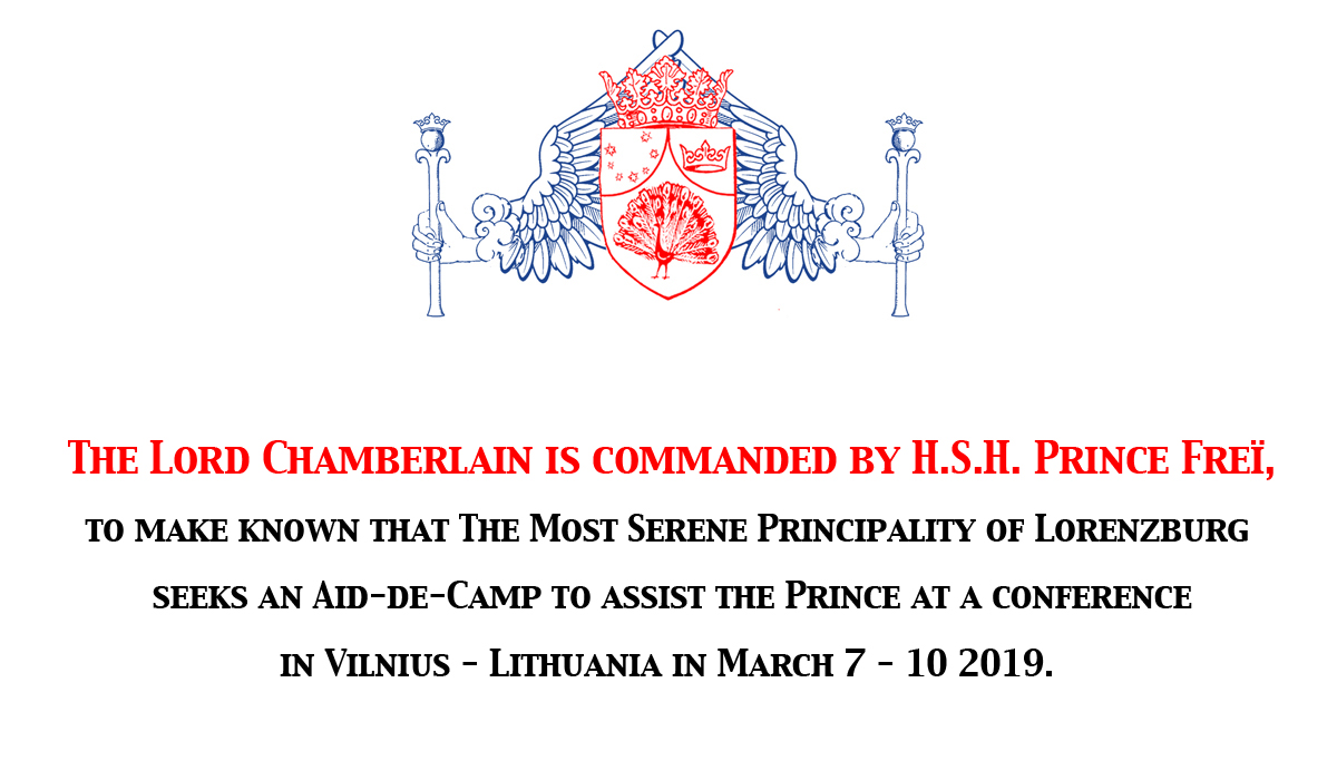 Seeking an Aid-de-camp for a conference in Vilnius 7 – 10 March 2019